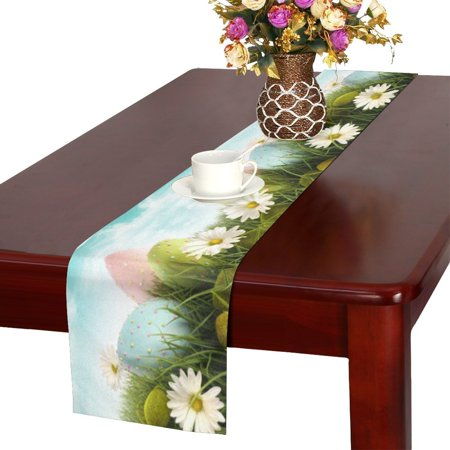 MKHERT Happy Easter Decoration Easter Eggs with Daisies Table Runner Home Decor for Kitchen Dining Wedding Party 16x72 Inch ()