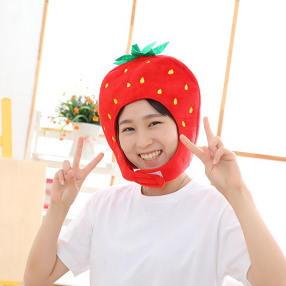 FAMKIT Cute Strawberry Hat Fashion Funny Photo Costume Props Soft Stuffed Plush Hat Novelty Gift