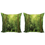 Rainforest Throw Pillow Cushion Cover Pack of 2, Tropical Rainforest Landscape Malaysia Asia Green Tree Trunks Uncultivated Wood Print, Zippered Double-Side Digital Print, 4 Sizes, Green, by Ambesonne