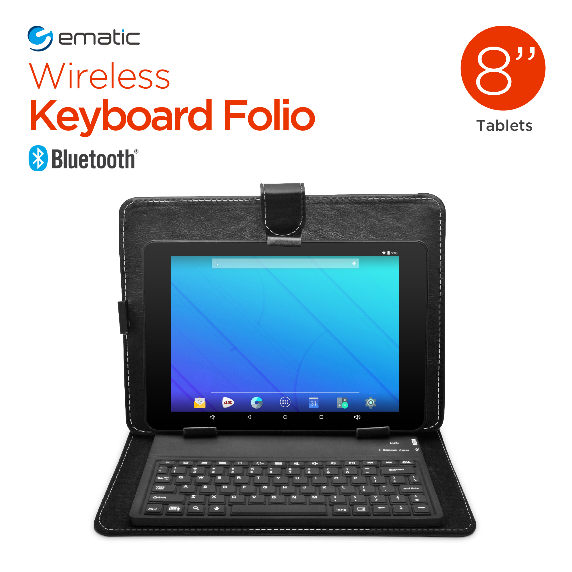 "Ematic EUK801 Bluetooth Keyboard Folio for 8"" Tablets, Black"