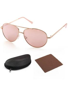 Aviator Sunglasses for Kids Girls Boys Children, Gold Frame, Pink 50mm Shatterproof Lens, UV400 Protection, Case Included