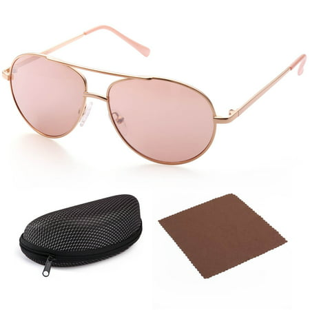Aviator Sunglasses for Kids Girls Boys Children, Gold Frame, Pink 50mm Shatterproof Lens, UV400 Protection, Case (Baby Girl Aviator Sunglasses)