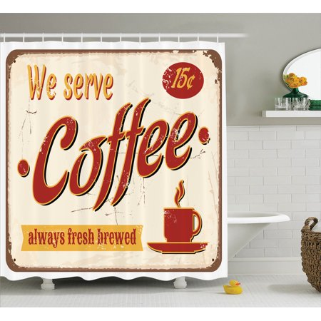 1950S Decor Shower Curtain Set, Retro Style Tin Rusty Faded Fresh Brewed Coffee Print From Old Days Fifties Art Work, Bathroom Accessories, 69W X 70L Inches, By Ambesonne