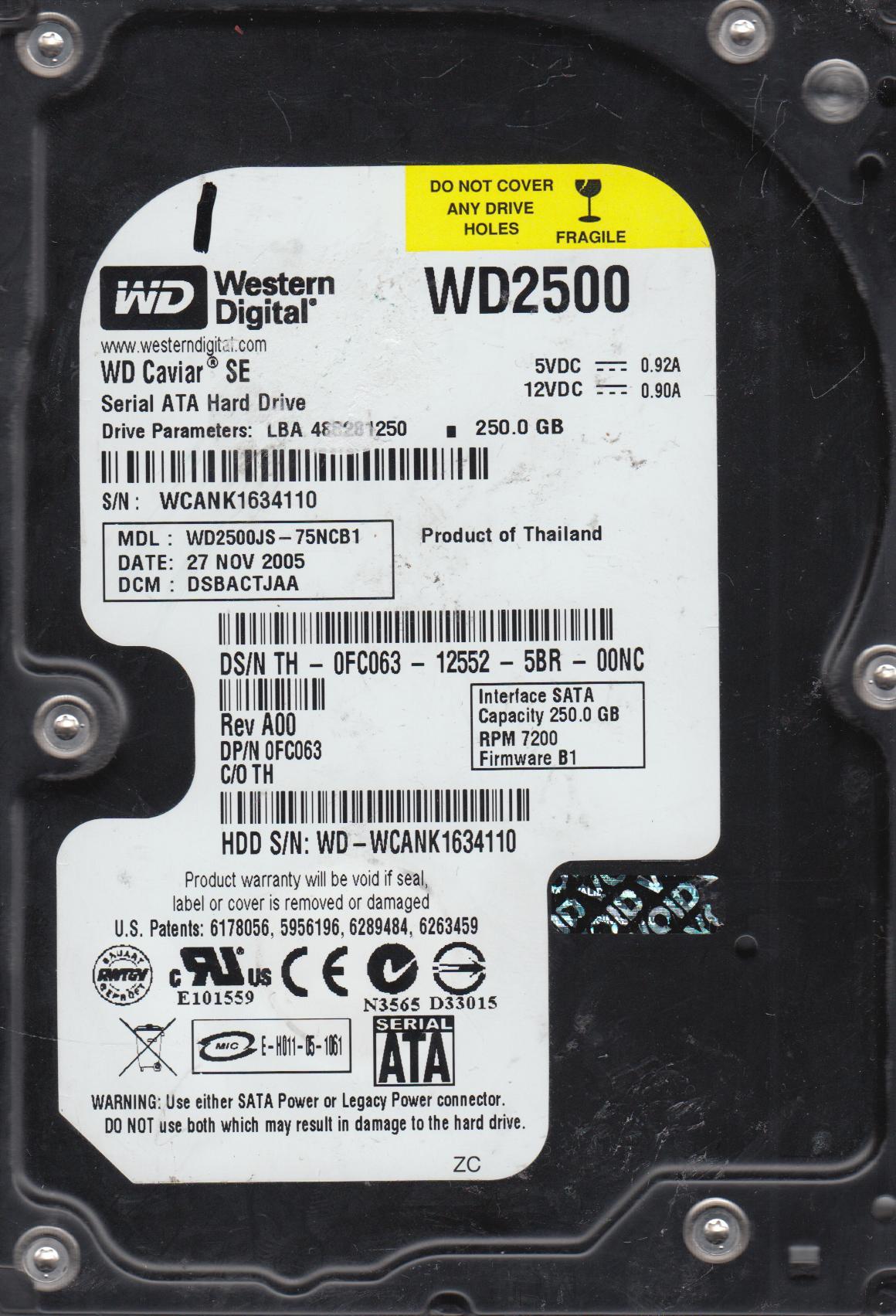 WD2500JS-75NCB1, DCM DSBACTJAA, Western Digital 250GB SATA 3.5 Hard Drive by WD