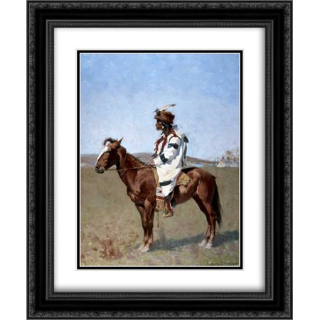 Blackfoot Indian 2x Matted 20x24 Black Ornate Framed Art Print by  Remington, Frederic