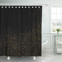 PKNMT Yellow Black Amber Particles Color Celebratory Golden Explosion of Confetti Dot Bathroom Shower Curtains 60x72 inch