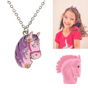 Girl Horse Pendant Silver Necklace Cowgirl Teen Equestrian Birthday Gift Jewelry