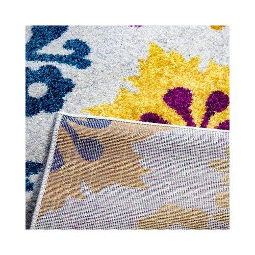 Ebern Designs Merissa Transitional Ikat Gray/Yellow Area Rug