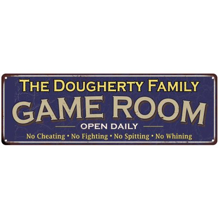 The Dougherty Family Game Room Blue Vintage Look Metal 6X18 Sign Decor 6188101