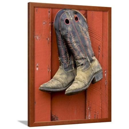 Worn Cowboy Boots Hanging, Ponderosa Ranch, Seneca, Oregon, USA Framed Print Wall Art By Wendy Kaveney