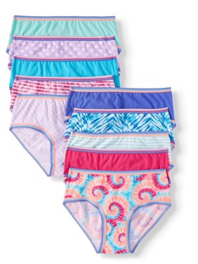 Wonder Nation Girls Underwear, 10 Pack 100% Cotton Hipster Panties Sizes 4 - 16