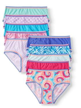 Wonder Nation Girls Underwear, 10 Pack 100% Cotton Hipster Panties (Little Girls & Big Girls)