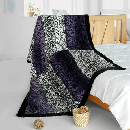 "Onitiva - Leopard Secret Animal Style Patchwork Throw Blanket (61""-86.6"")"