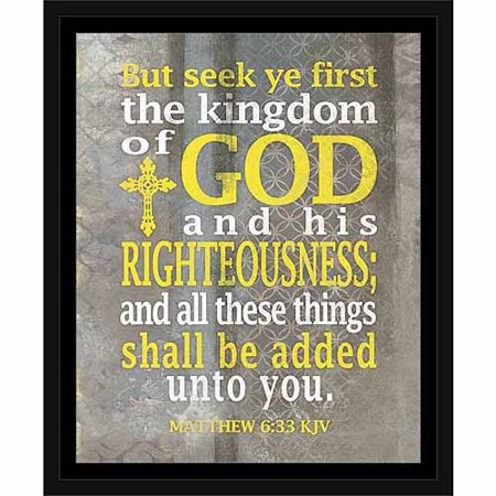 Seek The Kingdom Of God Matthew Abstract Pattern Religious Typography Painting Grey & Yellow , Framed Canvas Art by Pied Piper Creative