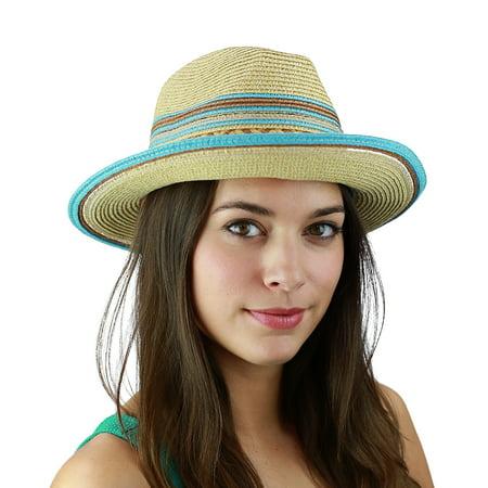 Golf Fedora (C.C Multicolored Metallic Gold Weaved Band and Brim Fedora Panama Sun Hat, Blue)