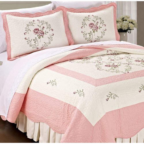 Serenta Roses Quilted 3 Piece Quilt Set