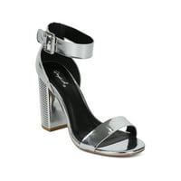 ec89b5294d Product Image Women Metallic Open Toe Mini Studded Block Heel Ankle Strap  Sandal HF63