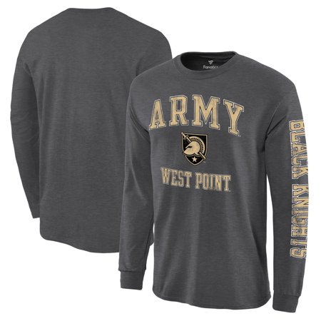Army Black Knights Logo (Army Black Knights Distressed Arch Over Logo Long Sleeve Hit T-Shirt - Charcoal)