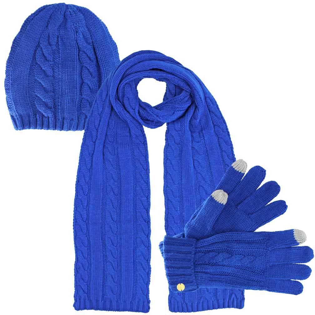 Luxury Divas Cable Knit 3 Piece Beanie Cap Scarf & Gloves Set