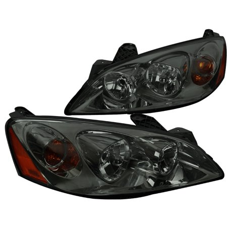 Spec-D Tuning For 2005-2010 Pontiac G6 Chrome Housing Smoke Lens Headlights Head Lamps (Left+Right) 2005 2006 2007 2008 2009 2010 2006 Chrome Headlights Trim