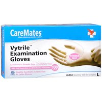 CareMates Vytrile Powder Free Examination Gloves, Large, 100 Count