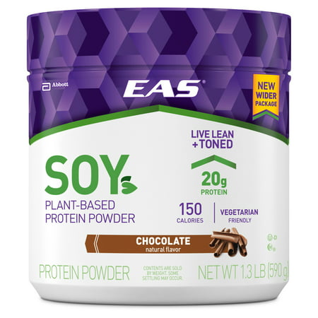 - EAS Soy Plant-Based Protein Powder, Chocolate, 20g Protein, 1.3 lb