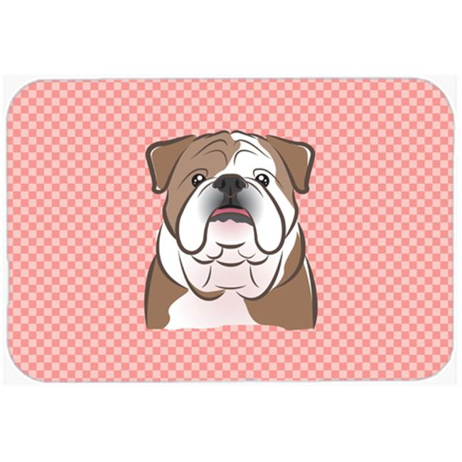 Checkerboard Blue English Bulldog Mouse Pad, Hot Pad Or Trivet, 7.75 x 9.25 In.