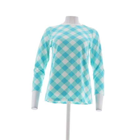 Bob Mackie Gingham_Check Pullover Knit Top A303016