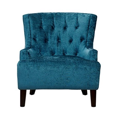 Incredible Hemingway Modern Teal Velvet Button Tufted Accent Chair With Solid Oak Legs Pabps2019 Chair Design Images Pabps2019Com