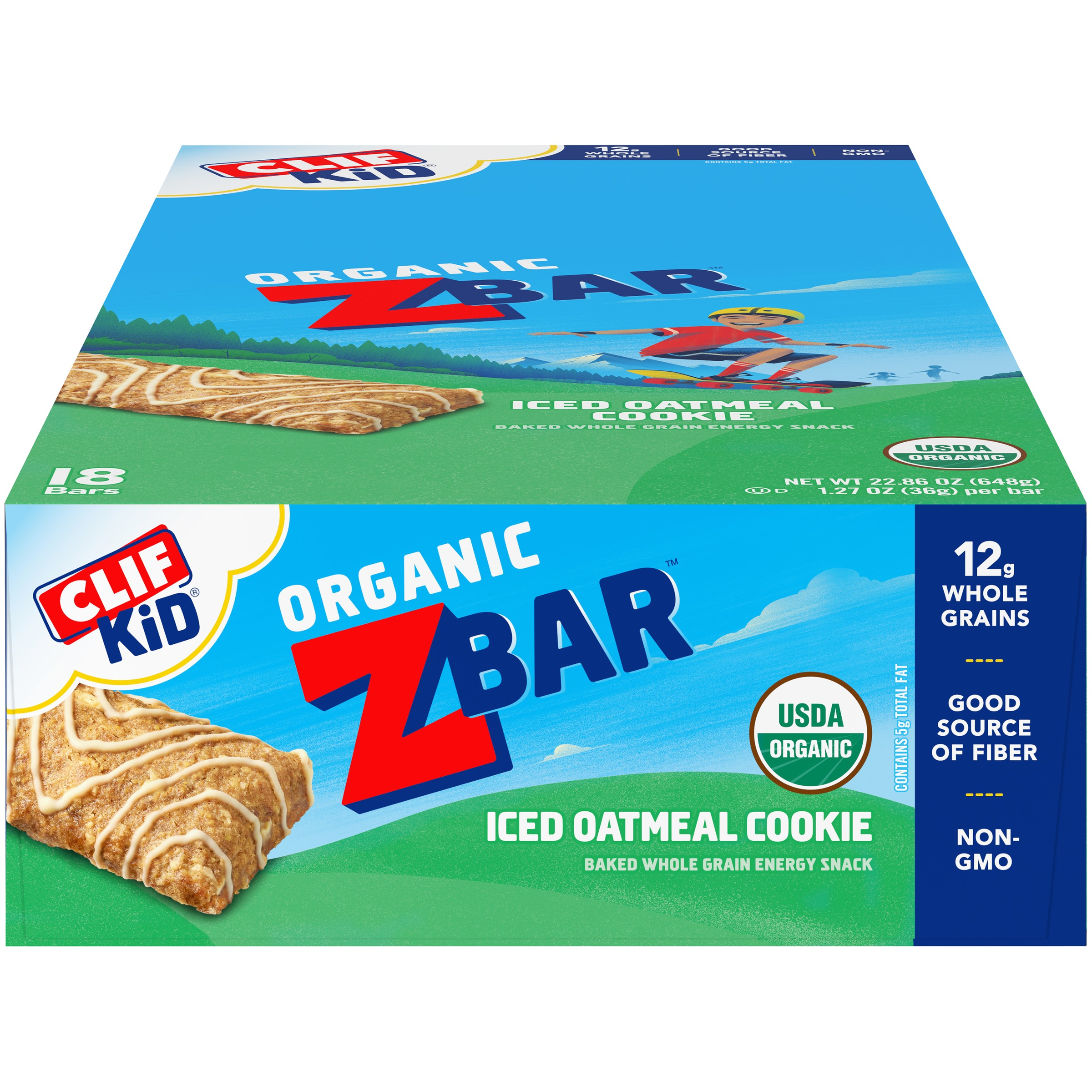 Clif Kid® Organic ZBar™ Iced Oatmeal Cookie Baked Whole Grain Energy Snack 18-1.27 oz. Bars