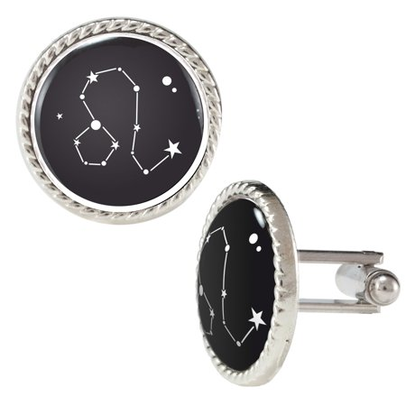 Black And White Constellation Of Zodiac Horoscope Leo Cufflinks