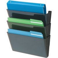 Deflecto, Sustainable DocuPocket Letter Black-3 pocket 50% Recycled Content, 3 / Set, Black