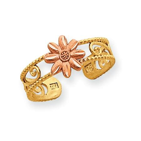 14K Yellow Gold Pink Flower Adjustable Toe Ring