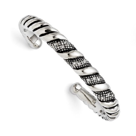 Stainless Steel Crystal Antiqued Cuff Bangle