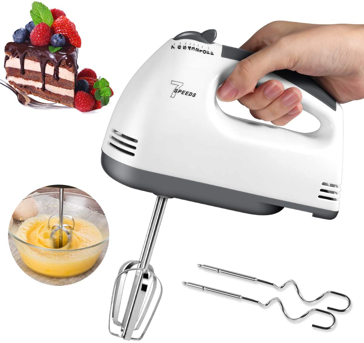 Brownies Cakes 7 Speeds Turbo Handheld Mixer Egg Whisk with 2 Beaters 2 Dough Hooks /& 1 Egg Separator Dough Batters Kitchen Egg Blender for Home Easy Whipping Mixing Cookies Electric Hand Mixer