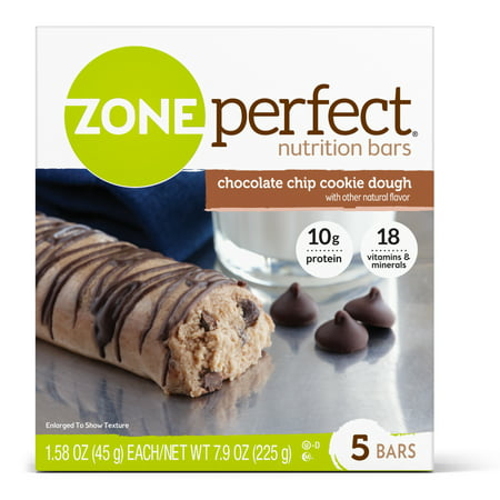 - (2 Pack) ZonePerfect Nutrition Bar, Chocolate Chip Cookie Dough, 10g Protein, 5 Ct