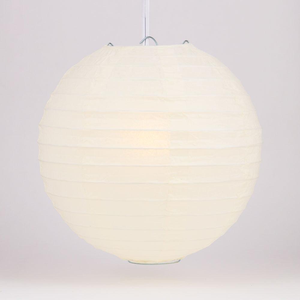 "Quasimoon BULK CASE 4"" Beige / Ivory Round Paper Lantern, Hanging Decorations, Even Ribbing, Hanging Decoration (100 PACK) by PaperLanternStore"