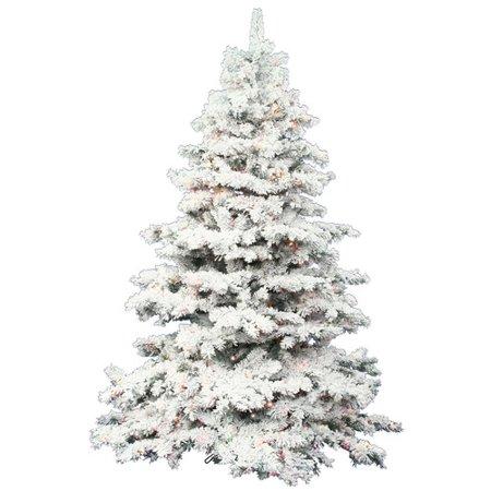Vickerman 9 Flocked Alaskan Pine Artificial Christmas Tree With 1200 Multi Colored Led Lights