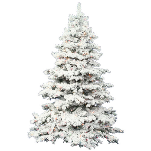 Vickerman Flocked Alaskan 7.5' White Artificial Christmas Tree with 900 Multicolored Lights with Stand