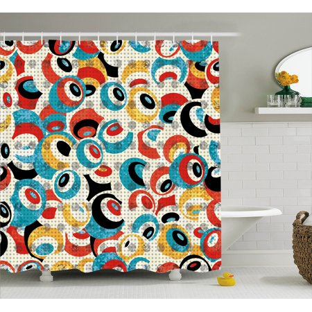 Psychedelic Shower Curtain, Retro Theme Circle Pattern Evil Eyes Design Techno Trance Decorations Art Print, Fabric Bathroom Set with Hooks, 69W X 70L Inches, Multi, by Ambesonne](Halloween Theme Techno Remix Mp3)