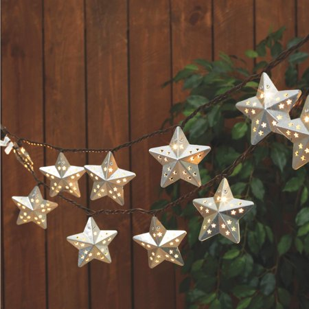 Everlasting Glow Metal Star String Patio Light Set