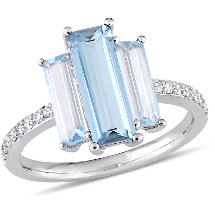 Tangelo 3-1 3 Carat T.G.W. London and Sky Blue Topaz and 1 7 Carat T.W. Diamond 14kt White Gold Baguette Ring by Tangelo