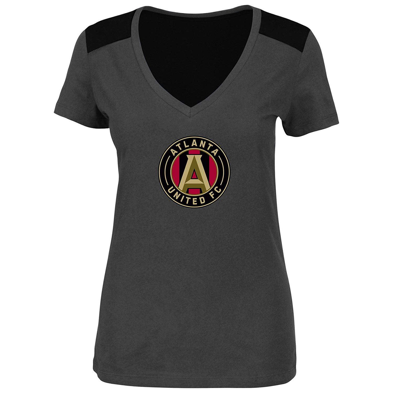 Atlanta United FC Women Plus Size Glitter Logo Heathered Performance V-Neck T-Shirt Gray (Plus 4X)