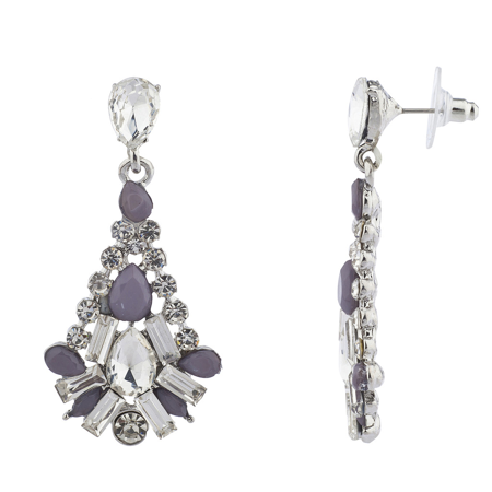 Lux Accessories Silver Tone And Purple Special Occasion Chandelier Earrings