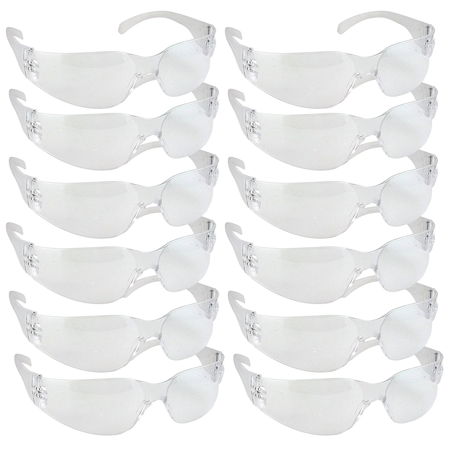 Safety Glasses, One Size, Clear Lens (Pack of 12) by Bison Life