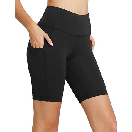 High Waist Tummy Control Workout Yoga Shorts Side Pockets