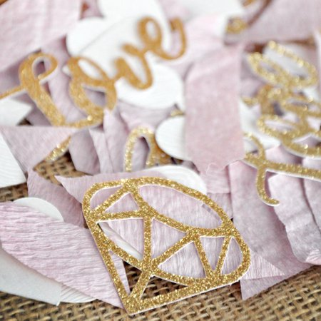 Gold Bridal Shower Table Decor Confetti. Gold Love and Diamond Confetti with Mauve Crepe. Bridal Shower Decor. - Table Confetti