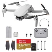 DJI Mini 2, Starter Bundle – Ultralight and Foldable Drone Quadcopter for Adults and Kids, 3-Axis Gimbal with 4K Camera, 12MP Photo, 31 Mins Flight Time, 10km HD Video Transmission, QuickShots, Gray