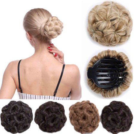 Synthetic Hair Weaves (S-noilite Elegant Chignon Clip in Hair Bun Extension Donut Claw Jaw Updo Synthetic Combs Curly Weave Hair Scrunchies dark brown,65g )