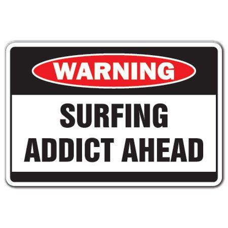 SURFING ADDICT Warning Decal water waves beach sand surfboard surfer